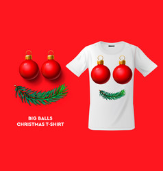 big balls christmas t-shirt design modern print vector image