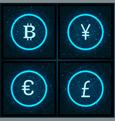 Bitcoin and yen pound sterling icons set vector