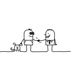 Blind man shaking hand with friendly people vector