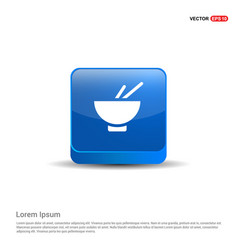 bowl and chopsticks icon - 3d blue button vector image