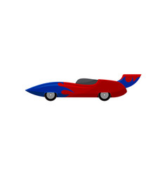 bright red racing car with blue wrap decal and vector image