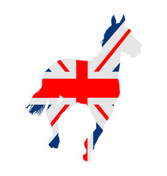 British flag over elegant racing horse in gallop vector