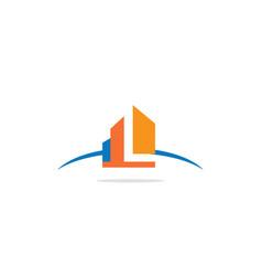 building l initial logo vector image