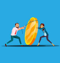 business people pulling rope to lift up heavy coin vector image