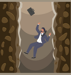 Businessman falling over cliffs into abyss flat vector