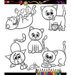 cats set cartoon coloring book vector image