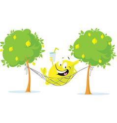 Cheerful lemon character lay in hammock with vector