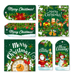 Christmas tag and label of winter holiday gift vector