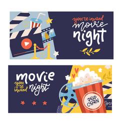 cinema cartoon horizontal banners set with cinema vector image