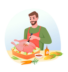 cook roasted turkey for christmas or thanksgiving vector image