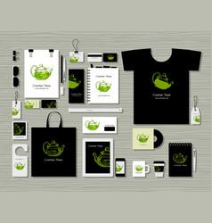 Corporate flat mock-up template herbal tea vector