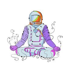 Cosmonaut padmasana position doodle vector