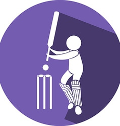 Cricket icon on round badge vector image