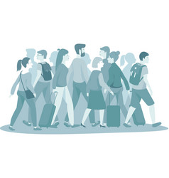 Crowd people with luggage monocolor vector
