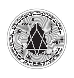 crypto currency eos black and white symbol vector image