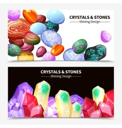 Crystal Stones And Rocks Banners vector