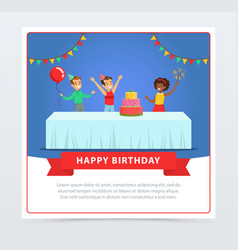 Cute kids celebrating birthday with cake happy vector