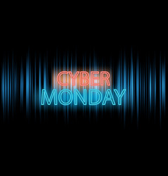cyber monday banner design with neon lettering vector image