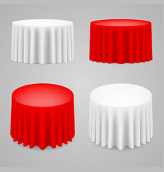 Dining tables set with tablecloth on white vector