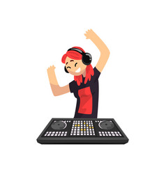 dj girl in headphones playing track and dancing vector image