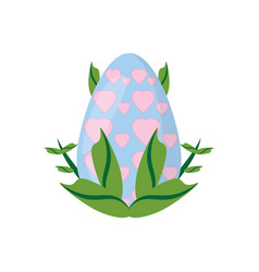 easter egg heart decoration and green leaves vector image