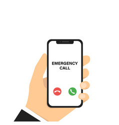 Emergency phone call hand holding phone vector