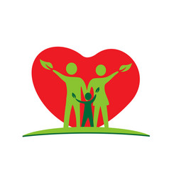 family parents and kid green ecology logo vector image