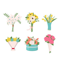 Flowers in bouquets roses and tulips box set vector