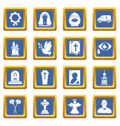 Funeral ritual service icons set blue square vector