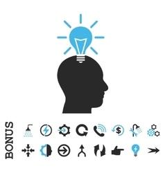 Genius Bulb Flat Icon With Bonus vector