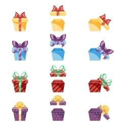 Gift Box New Year Cartoon Flat Design Icon Set vector
