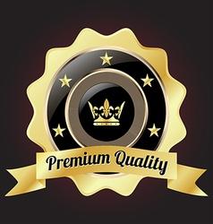 Golden premium quality badge vector