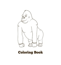 Gorilla cartoon coloring book vector