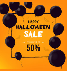 halloween background with black balloons vector image