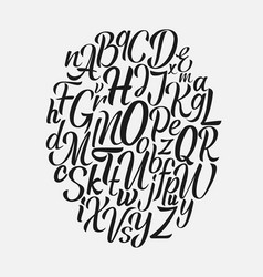 Hand drawn lettering font brush script vector