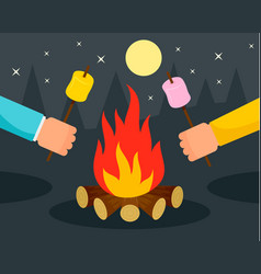 Hand with marshmallow at camp fire background vector