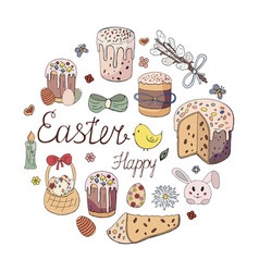 happy easter holiday easter cakes willow twig vector image