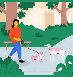 happy woman walking with dog on leash in city park vector image