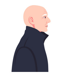 head a bald old man in a coat in profile vector image