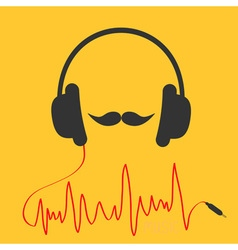 Headphones with red cord Moustaches Music card vector