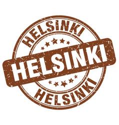 helsinki brown grunge round vintage rubber stamp vector image