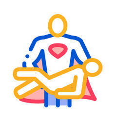 hero holds on hands human icon outline vector image