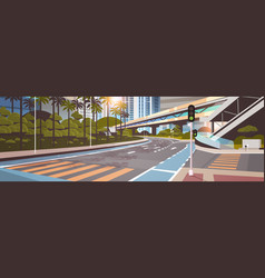 highway road city street with modern skyscrapers vector image