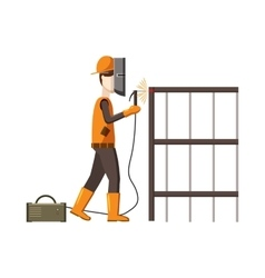 Industrial construction welder worker icon vector