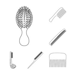 isolated object of brush and hair icon collection vector image