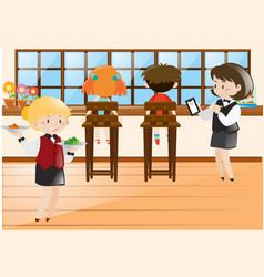 kids eating at the restaurant vector image