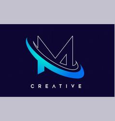 Letter m logo m letter design with blue swash vector