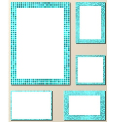 Light blue mosaic page layout border template set vector