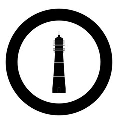 lighthouse icon black color in circle vector image