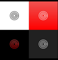 Lines c in circle logo linear logo the letter c vector